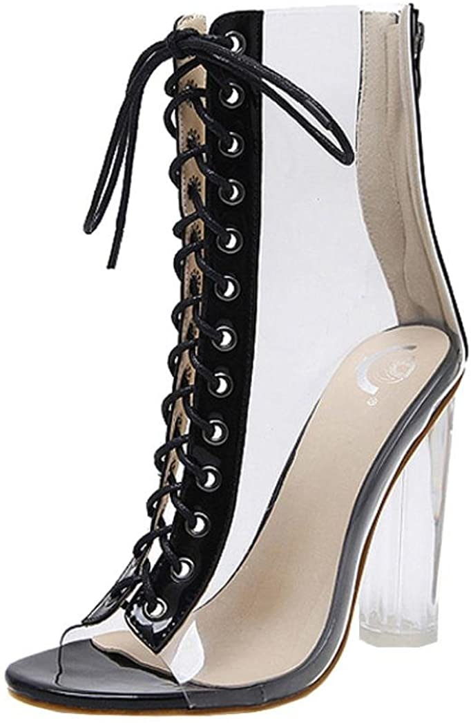 Zapatos de tacón Altas Ancho Clásicos para Mujer Verano 2018 PAOLIAN Casual Transparente Zapatos de Boca de Pescado Cruz de Cordones Fiesta Romano Sandalias de Vestir Moda Zapatos