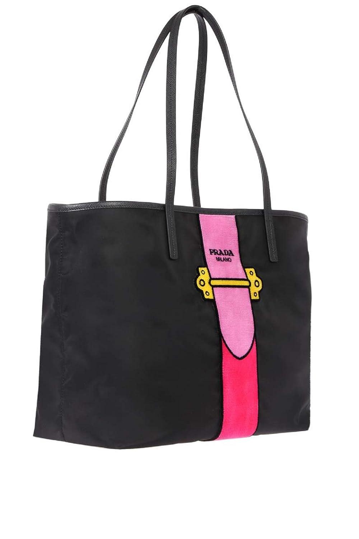 74d7fc81aa41db Prada Womens Black Tessuto Ricamo Shopping Tote Shoulder Bag Messenger Bag  with Pink Velvet Accent Line Leather Trim 1BG065: Handbags: Amazon.com