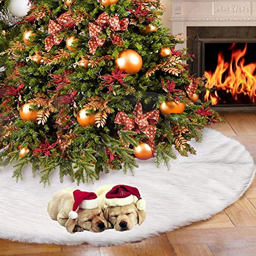CCBOAY 48inch Christmas Tree Skirt, Classic Christmas Plush Tree Skirt with White Faux Fur, Perfect for Xmas Holiday Decorations New Year Party