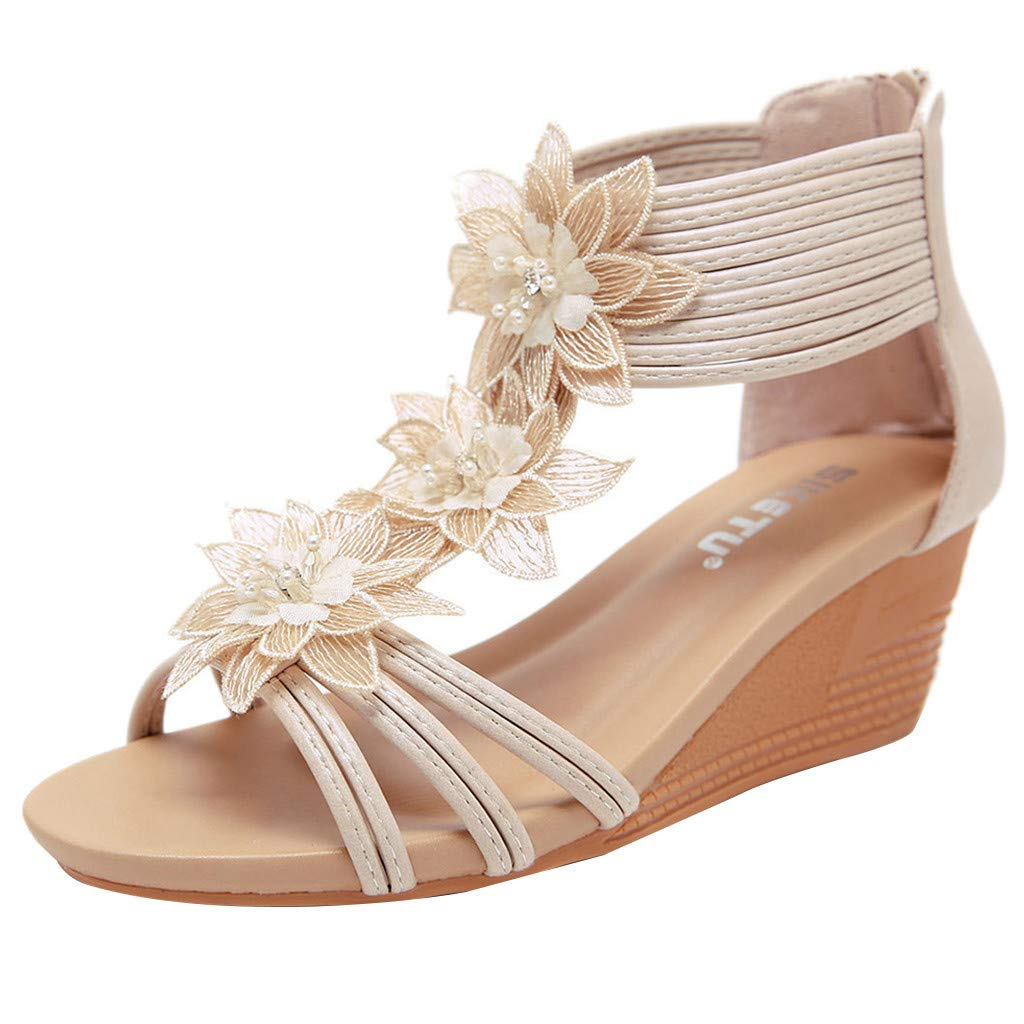 3c432335435b9 Creazrise Fashion Women's Sandals Summer Leather Shoes Flower Wedges Girl  Zipper Roman Sandals