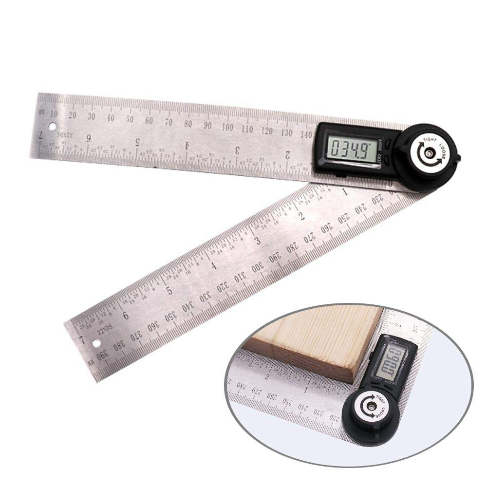 Metal Protractor Ruler,Teepao 360 Protractor,Digital Angle Ruler LCD Goniometer Angle Gauge 200mm / 7inch Stainless Steel Ruler with Zeroing/Locking Function