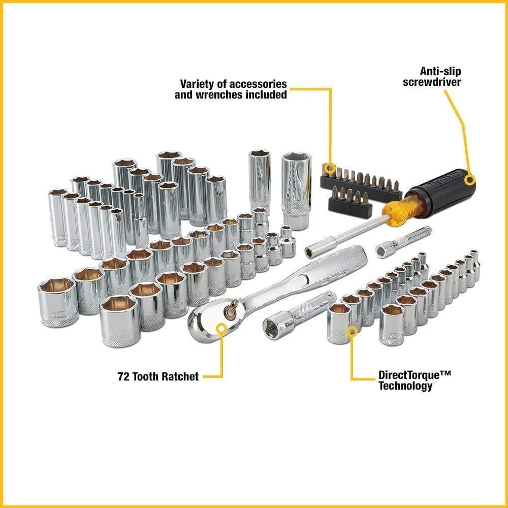 DEWALT 20V MAX Cordless Drill / Driver Kit, 1/2-Inch with Mechanics Tool Set, 84-Piece (DCD771C2 & DWMT81531): Home Improvement