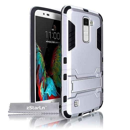8 opinioni per zStarLn® argento Cover LG K7 Custodia Dual Layer Hybrid Rugged Case Soft