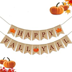 Happy Fall Yall Banner for Fireplace Thanksgiving Decor Mantel Autumn Banner Rustic Burlap Banner Maple Leaf Pumpkin Harvest Banner Fall Garland for Home Wall Outdoor Hanging Indoor Outdoor Office