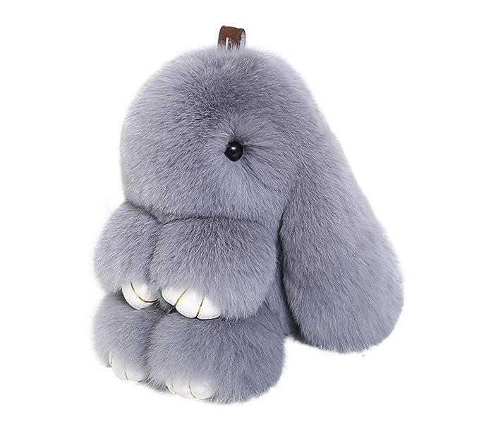 Amazon.com  Efanr Cute Fluffy Bunny Doll Keychain Soft Rabbit Key ... 00919902fd
