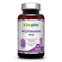 B3 Nicotinamide 500 mg 100 Capsules - Natural Flush-Free Vitamin Formula   Gluten-Free Nicotinic Amide Niacin   Skin Health and Healthy Cell Repair Support