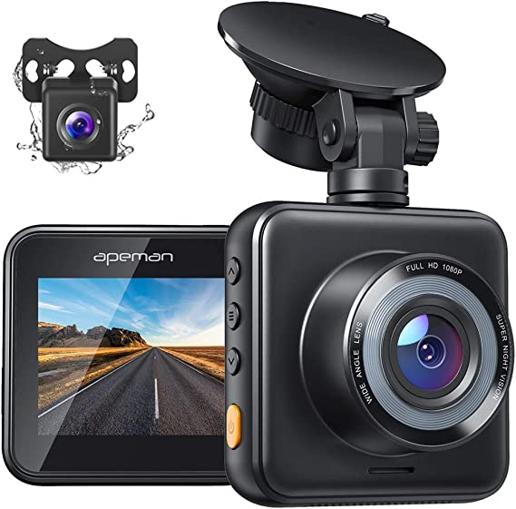 APEMAN Dual Dash Cam for Cars Front and Rear with Night Vision 1080P FHD Mini in Car Camera 170° Wide Angle Driving Recorder with G-Sensor