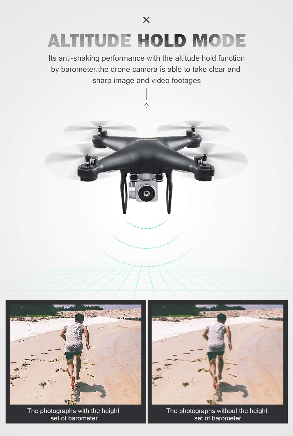 Chartsea Quadcopter Drone with Camera Live Video, JJRC H68 Wide Angle Lens 720P HD Camera WiFi FPV RC Drone (White) by Chartsea (Image #6)