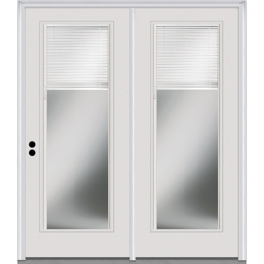 National Door Company ZZ01614R Fiberglass Smooth, Primed, Right Hand In-Swing, Center Hinged Patio Door, Clear Glass Internal Blinds, 68''x80''