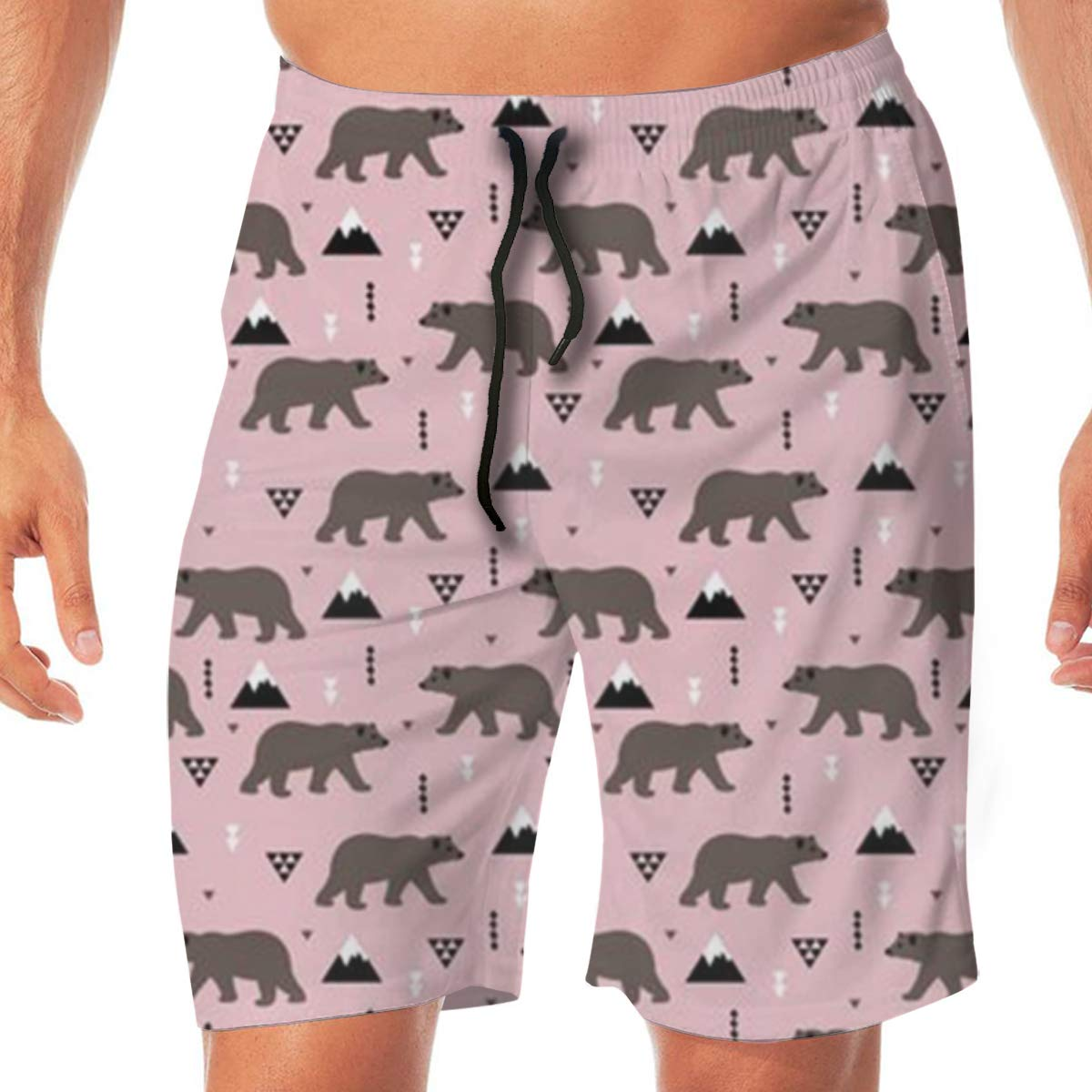 TR2YU7YT Forest Bear Casual Mens Swim Trunks Quick Dry Printed Beach Shorts Summer Boardshorts Bathing Suits with Drawstring