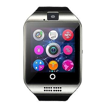 ZZG Reloj inteligente Bluetooth con cámara facebook whatsapp Twitter Sync Soporte SMS Tarjeta SIM TF para iOS teléfono android (Color : Gray): Amazon.es: ...