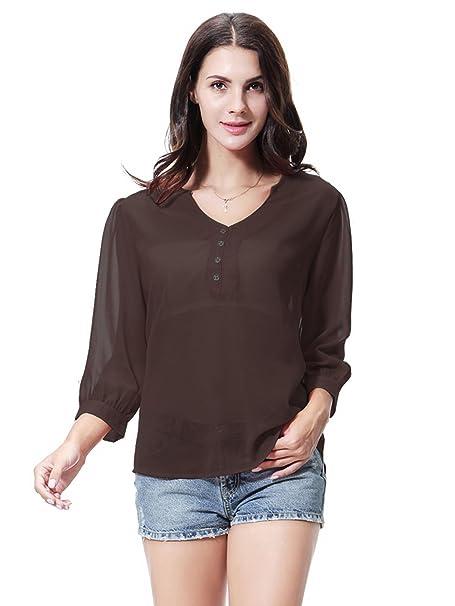 GladThink Mujer Vestido Blusa de chifón con cuello en V COFFEE S