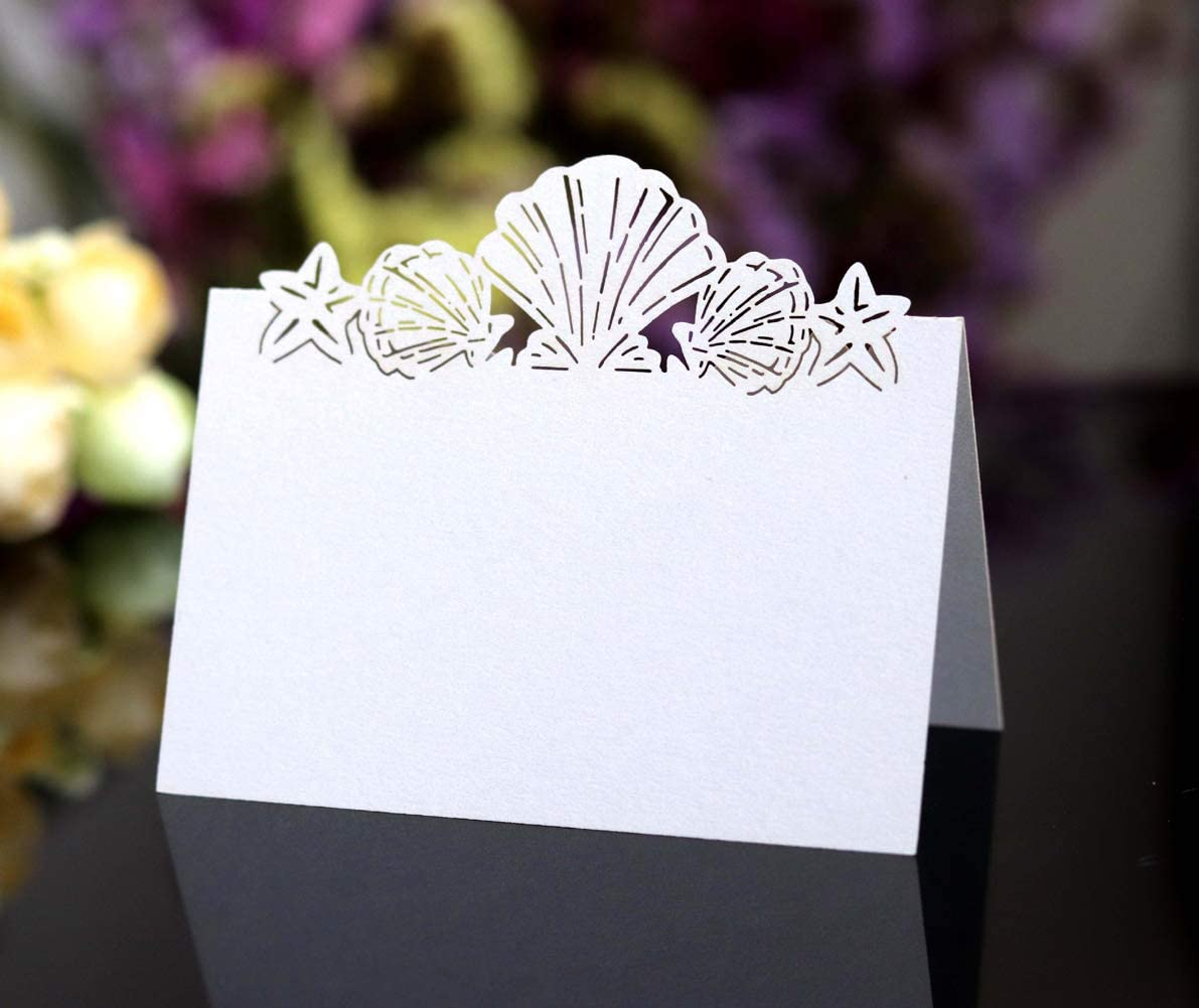 Beach Themed Seashell Wedding Place Cards