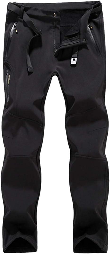 LHHMZ Soft Shell Forro Polar de los Hombres Pantalones de Senderismo al Aire Libre a Prueba de Agua Respirable Espesar Invierno c/álido Caminando Pantalones de Escalada
