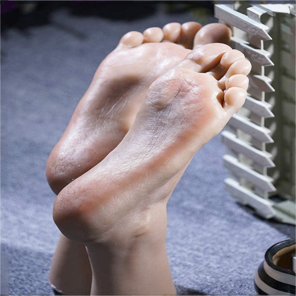 Silicone Feet Model - Male Mannequin Foot Toes Can Be Fixed Built-In Bones Visible Blood Vessels Lifesize - Display Jewelry Shoe Sock Display Art Sketch Foot Toys