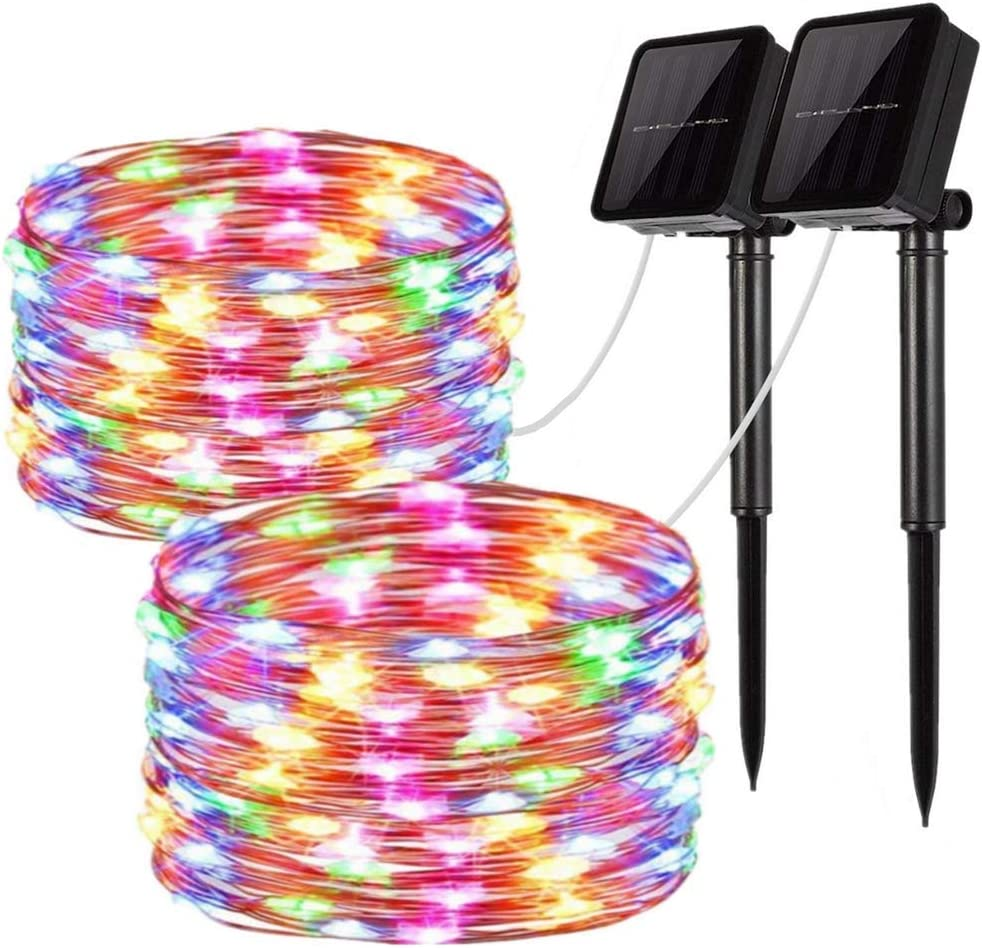 Christmas 8 Modes Outdoor 42ft 100LED Waterproof Lights for Garden Tree Wedding Party Yard Multicolor 2 Pack Solar String Lights