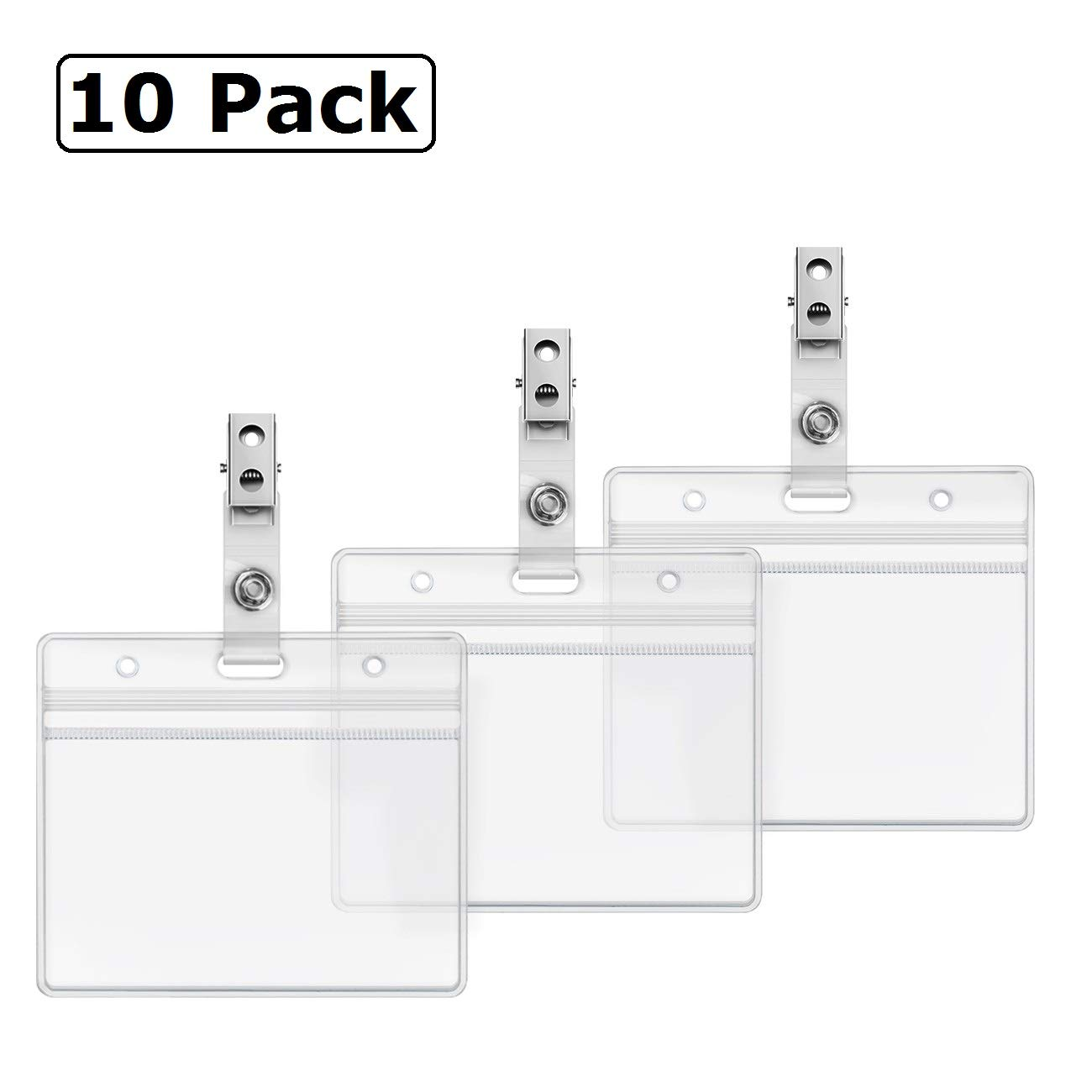 1e6e334eff36 Horizontal Heavy Duty Name Tags Badge Holders and Metal Badge Clips with  Vinyl Straps by ZHEGUI (10 Pack, Horizontal 2.3X3.5)