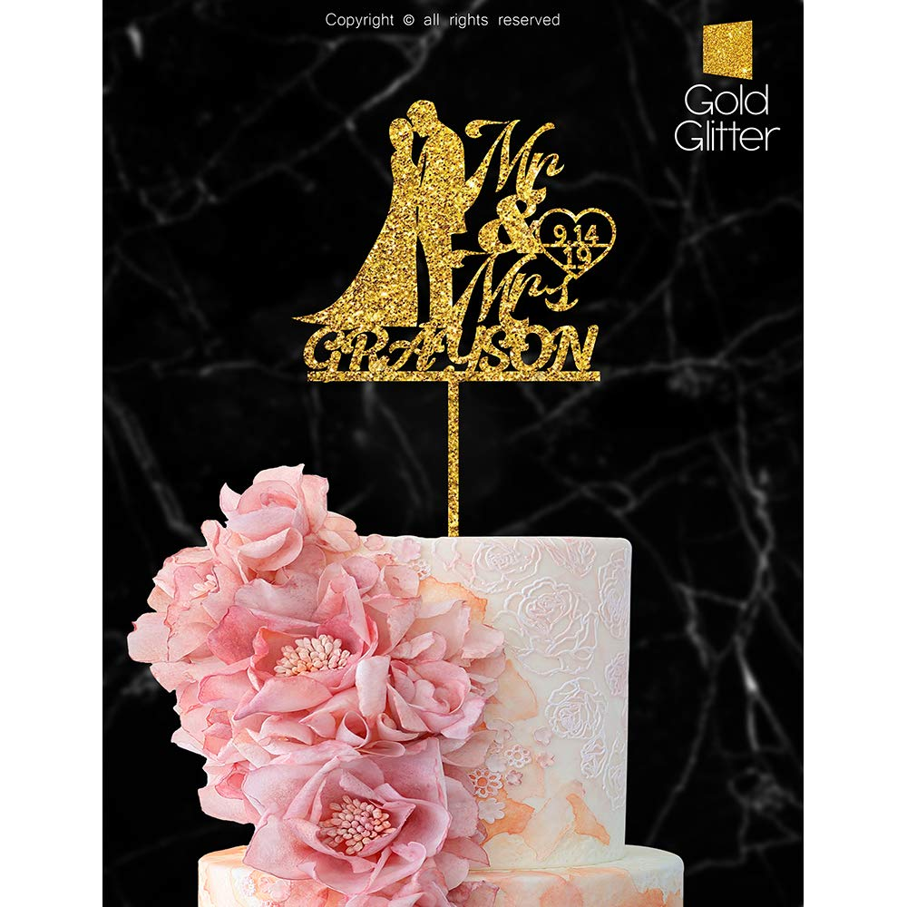 Personalized Wedding Cake Topper With Customized Bride and Groom Last Name or Marriage Date for Mr Mrs (Gold Glitter) by Just Customized (Image #2)