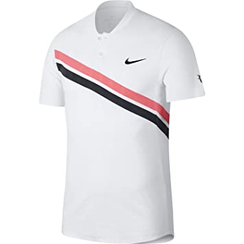 best service 0ed64 98e38 Nike Rf M nkct ADV MB, Poloshirt S WeißRot (Lava Glow)