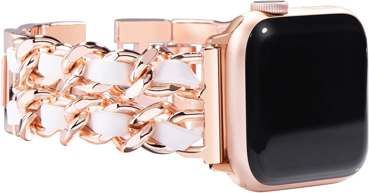 NewWays Compatible for Apple Watch Band 38mm Women, Jewelry Bracelet for Apple Watch Band 40mm Series 6 SE Series 6 SE Series 4 Series 5 iwatch Bands 38mm Womens, Rose Gold Link with White Leather