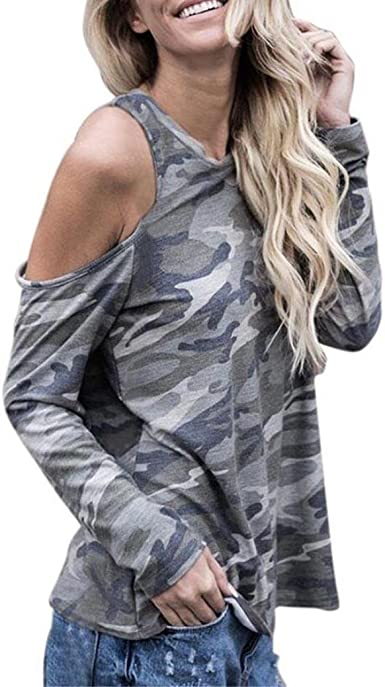 Damen Schulterfrei V-Ausschnitt Langarm Pullover Tops T-shirt Bluse Oberteile