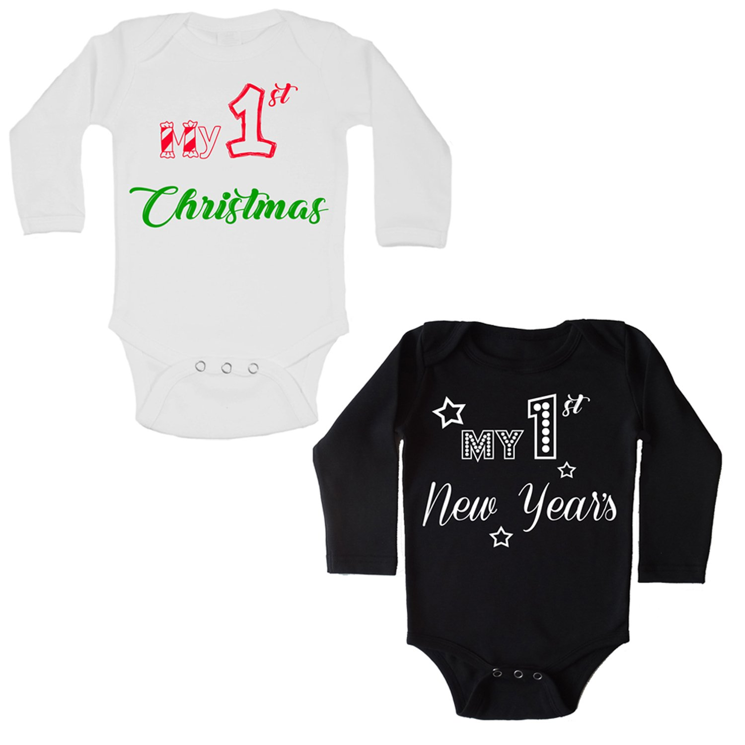 First Christmas + First New Years Baby Onesie SET | Long Sleeve Onesies PRIME