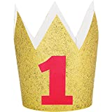 Party Central Set of 6 Gold and Red Glittered Finish Hat Crowns 4''