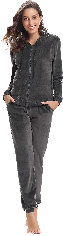Abollria Womens Pyjama Set Loungewear Long Sleeve Fleece Velvet Winter Tracksuits Jogging Sportwear Grey