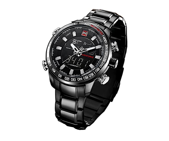 reloj único de los nuevos hombres ocasionales del deporte llevó la luz doble del reloj multifuncional manos esqueléticas luminosos exteriores con clase: ...