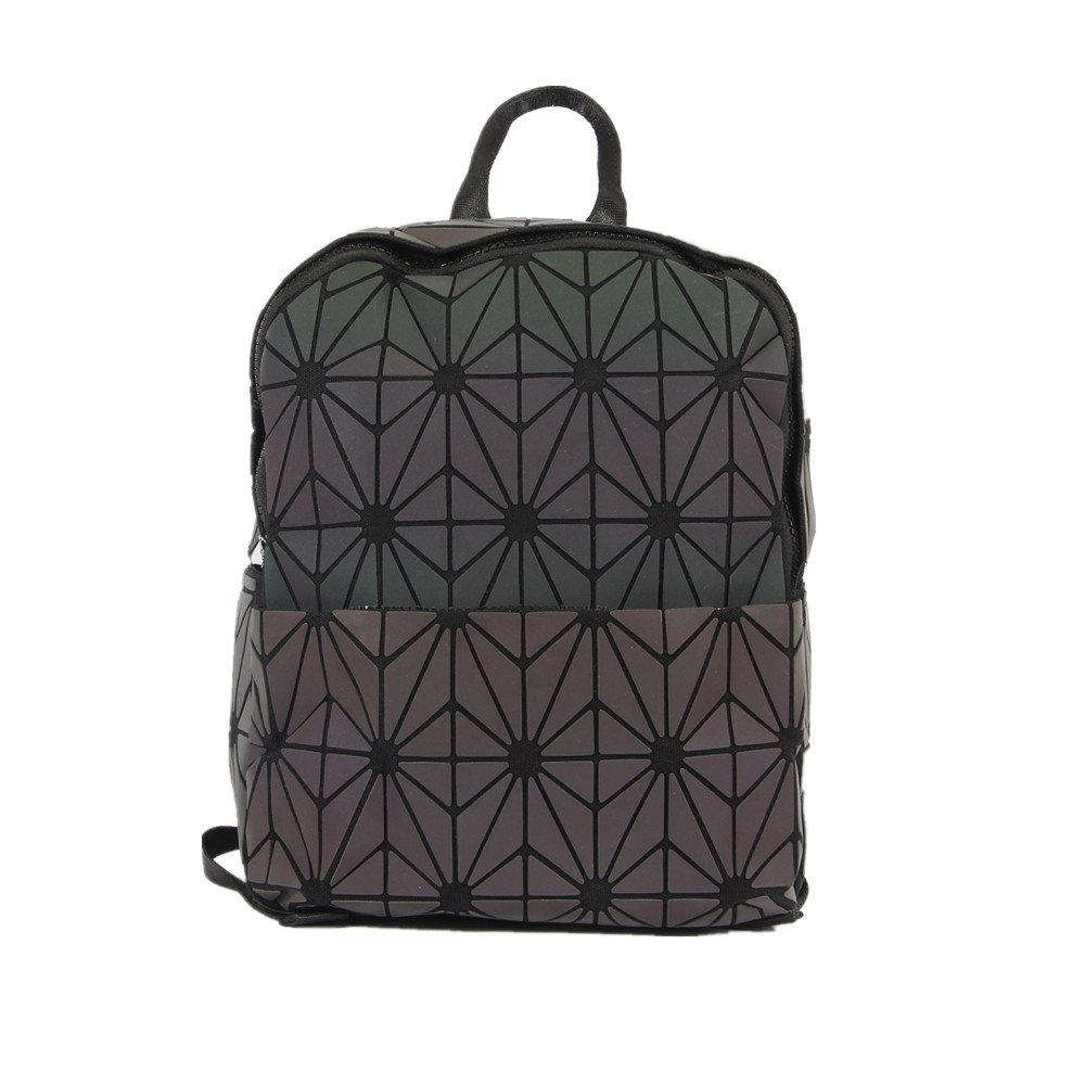 d308a380d3a8 Amazon.com  KAISIBO Fashion Geometric Backpack Lattice Holographic  Reflective Backpacks for women (Zipper Luminous)  KAISIBO