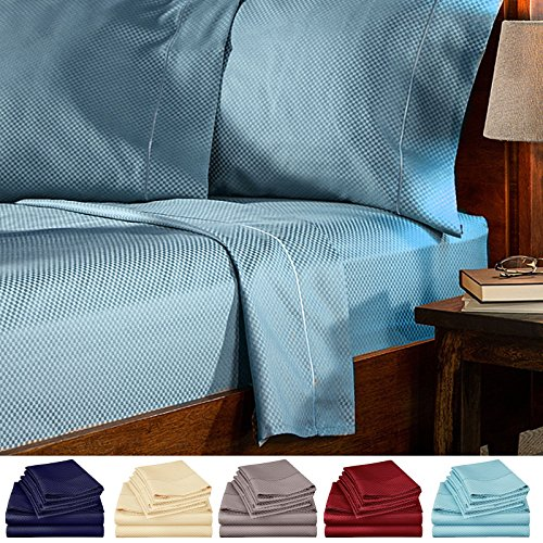 3 Piece Bed Sheets Set Twin Checkered - Hotel Quality Deep Pocket 1800 Series Bed Sheet Set Comfortable, Breathable, Soft & Extremely Durable (Twin , Blue )