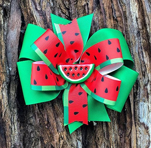 Watermelon Bow - Watermelon hairbow - Girls Bow - Girls Hairbow - Toddler Bow - Kids Hairbow - Fruit Bow - One in a Melon - fruit bow - watermelon birthday - watermelon hair bow - red watermelon bow - ()