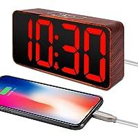 DreamSky Compact Digital Alarm Clock with USB Charging Port (Wood Tone + Red Digit)