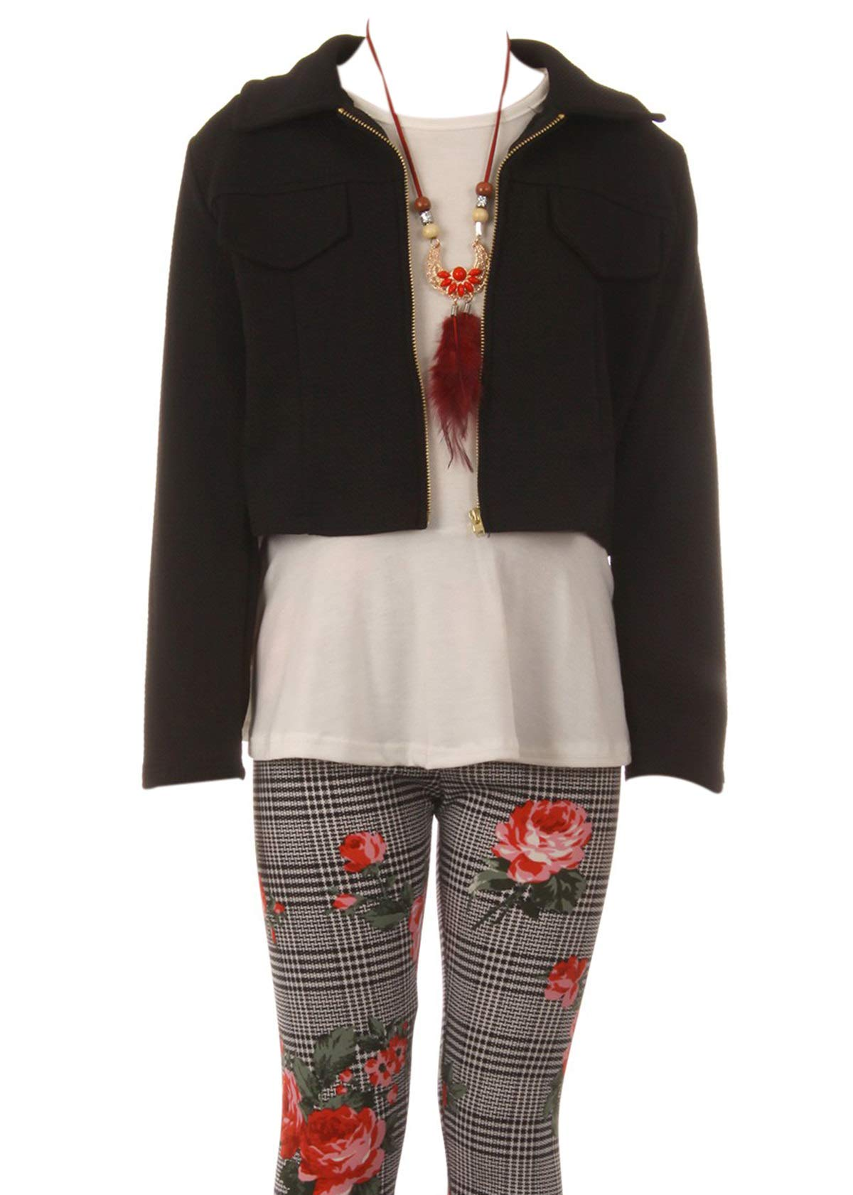 Big Girl Jackets Necklace Shirt Tank Pant Legging Girls 4 Pieces Clothing Set Coral 12 (21JK41S)
