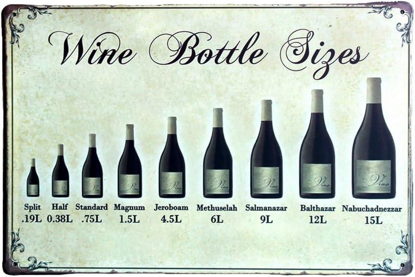 Doitsa Vintage M/étal Poster Tin Wine Bottle Sizes Peinture Sign D/écoration Murale Photos pour Barre de KTV Cafe Home Pub