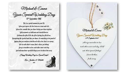 Personalised Wedding Poem Card Heart Plaque Gift Set Bride Groom Newlywed