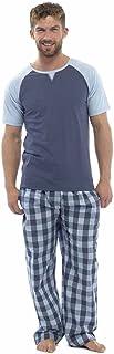 Mens maglia due Set di tono T camicia LongTrouser Pyjamma superiore e controllati