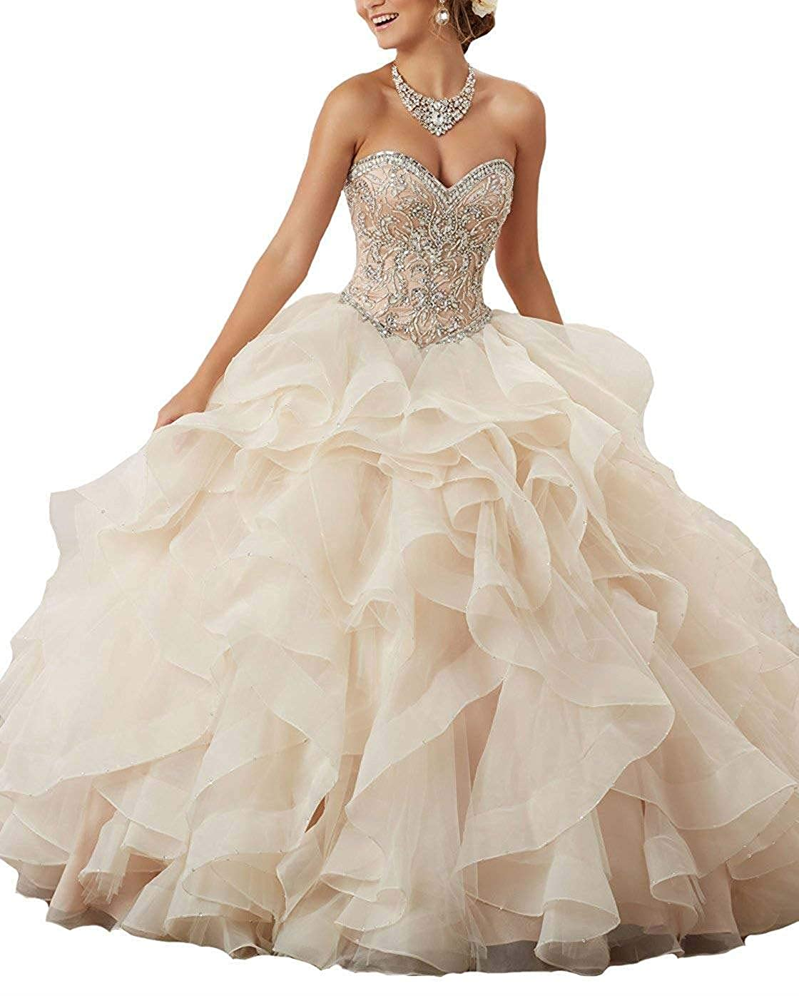 Champagne Jerald Norton Ltd Women's Sweetheart Ruffled Quinceanera Dresses Beaded Organza Princess Ball Gown Champagne