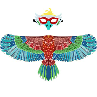 D.Q.Z Kids Eagle-Wings Bird Costume and Mask for Boys Girls Halloween Dress Up (Blue): Clothing
