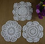 100% Cotton Lace Hand Made Crochet Doilies Cup Mat Natural Color Round, Square Doily 30Pcs/Lot 18-20Cm