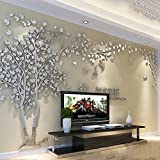 Missley Large Sliver Tree Wall Stickers Acrylic Mural Paper for Livingroom Baby Room Removable Decals