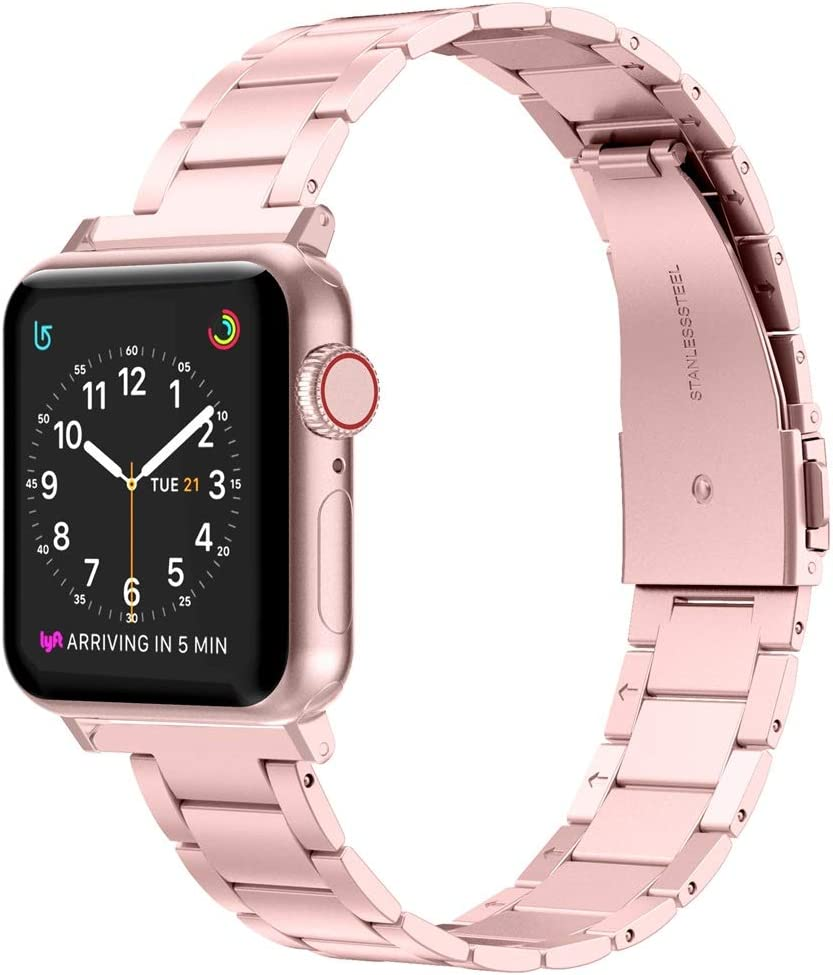 Wearlizer Stainless Steel Compatible with Apple Watch Band 38mm 42mm Women Men,Ultra-Thin Lightweight Replacement Band Compatible for iWatch Bands Series 6 5 4 3 2 1 (Rose Gold, 38mm 40mm)