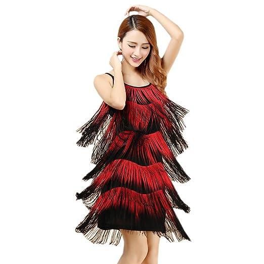 4e1aa774f3d Amazon.com  BOZEVON Womens Latin Dress Fringed Tassel Ballroom Rumba Salsa  Tango Skirt Dance Costume