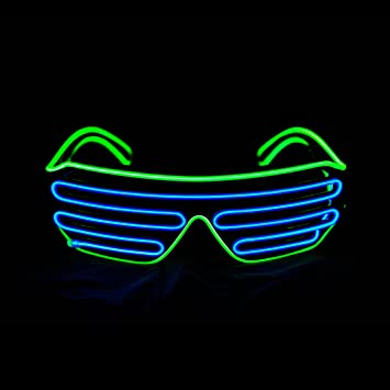 Amazon.com: Aquat Glow Shutter Neon Rave Glasses El Wire LED ...