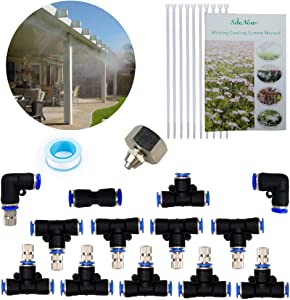 """Misting Cooling System,10 Stainless Steel Mist Nozzles 10 Connector Outdoor Cool Mister for Patio Garden Umbrellas Greenhouse Fan Trampoline Waterpark, 1/4"""" Misting Hose NOT Included"""