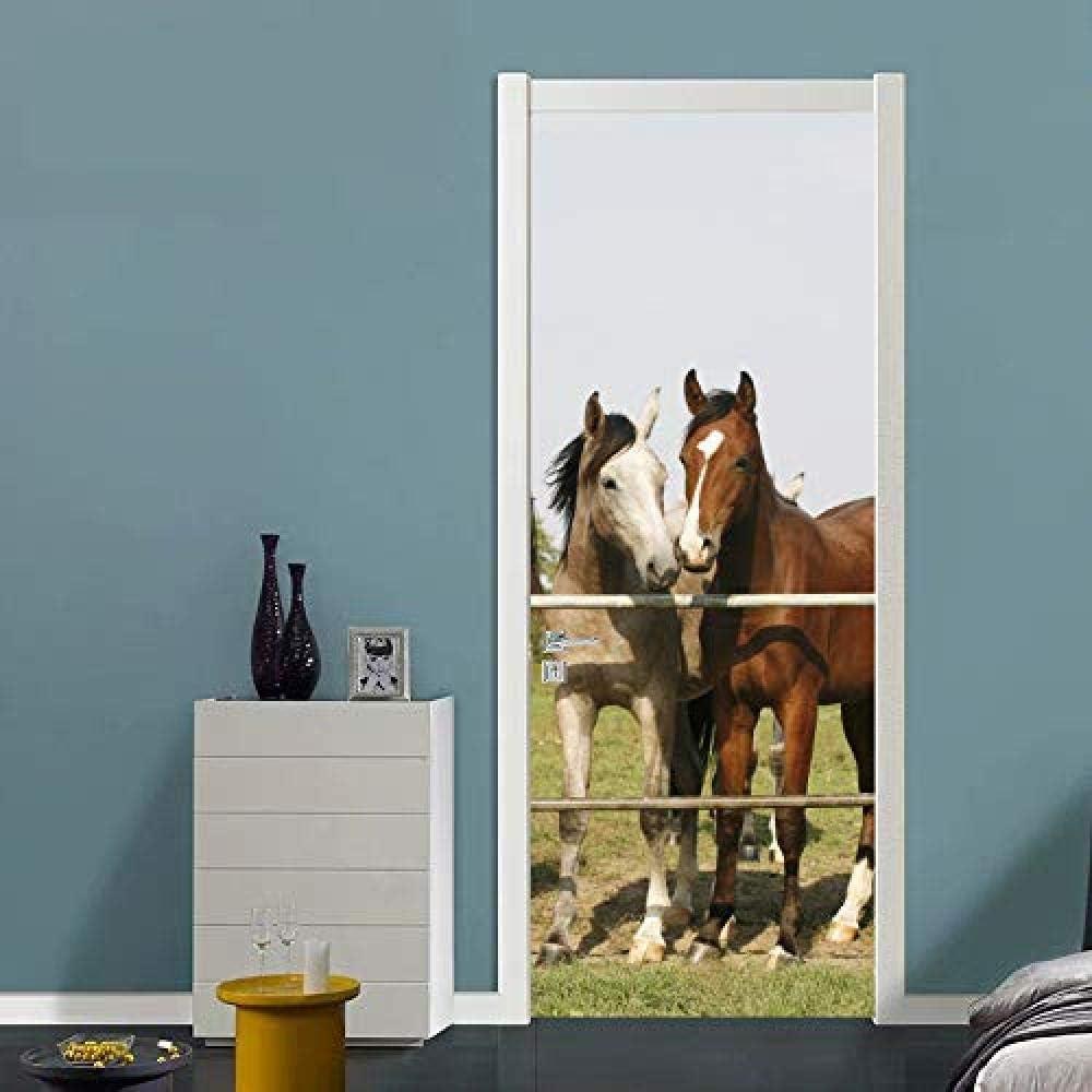 Bdhnmx Murales de puerta autoadhesivos Pelar y pegar Pegatinas de decoración Hipódromo Paisaje de carreras de caballos Papel tapiz extraíble Cartel de arte 30.3X78.7 (77X200Cm)