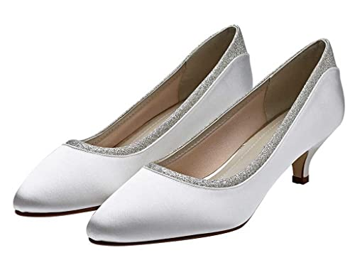 9aab54ea76c4 Rainbow Club Bobbie - Ivory Satin Low Kitten Heel Court Shoes with Silver  Shimmer Detail -