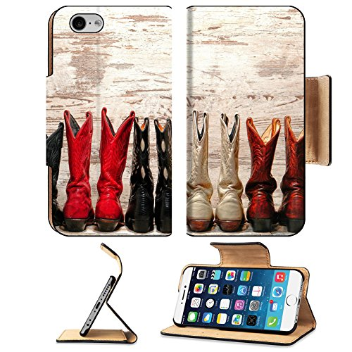 Traditional Duty Boots (Liili Premium Apple iPhone 6 iPhone 6S Flip Pu Leather Wallet Case IMAGE ID: 21429862 American West Legend cowgirl leather boots rear heel view in straight western line over old wood planks at a)