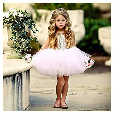 Flower Girl Dress Toddler Baby Princess Wedding Heart Sequins Tutu Gown for Kids