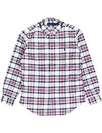 Men's Long Sleeve Oxford Button Down Shirt-WhiteBlue...
